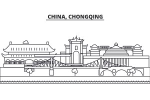China, Chongqing architecture line skyline illustration. Linear vector cityscape with famous landmarks, city sights, design icons. Landscape wtih editable strokes