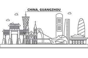 China, Guangzhou architecture line skyline illustration. Linear vector cityscape with famous landmarks, city sights, design icons. Landscape wtih editable strokes