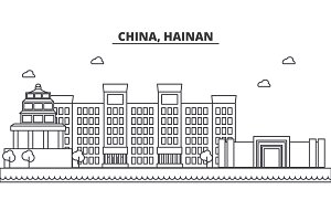 China, Hainan architecture line skyline illustration. Linear vector cityscape with famous landmarks, city sights, design icons. Landscape wtih editable strokes