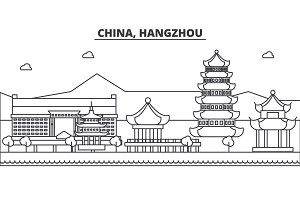 China, Hangzhou architecture line skyline illustration. Linear vector cityscape with famous landmarks, city sights, design icons. Landscape wtih editable strokes