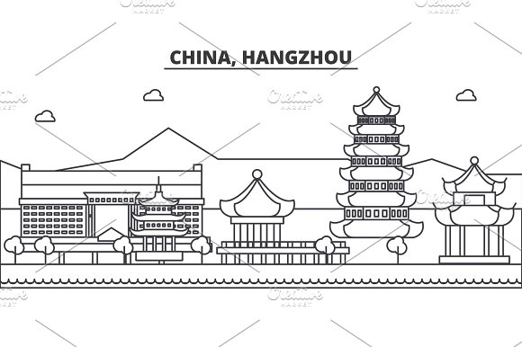 China Hangzhou Architecture Line Skyline Illustration Linear Vector Cityscape With Famous Landmarks City Sights Design Icons Landscape Wtih Editable Strokes