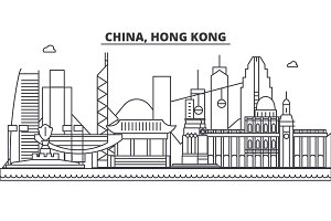 China, Hong Kong 1 architecture line skyline illustration. Linear vector cityscape with famous landmarks, city sights, design icons. Landscape wtih editable strokes