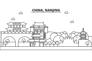 China, Nanjing architecture line skyline illustration. Linear vector cityscape with famous landmarks, city sights, design icons. Landscape wtih editable strokes