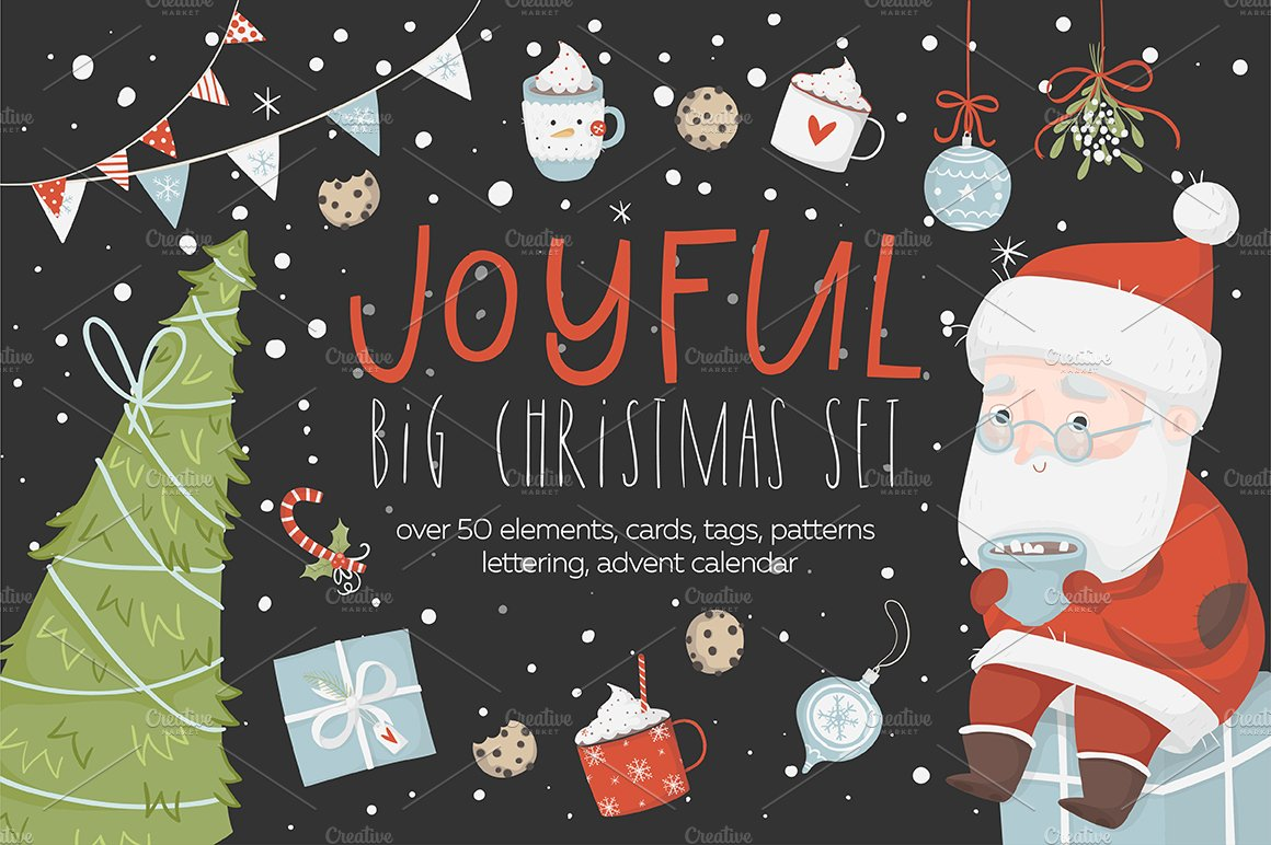Merry Christmas - cute set ~ Illustrations ~ Creative Market
