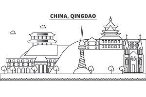 China, Qingdao architecture line skyline illustration. Linear vector cityscape with famous landmarks, city sights, design icons. Landscape wtih editable strokes