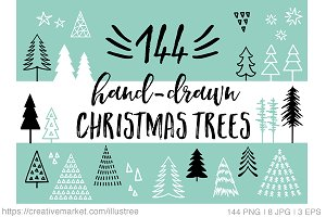 144 Christmas trees, vector set