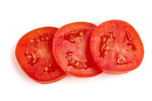 Three tomato slice isolated on white background. Top view