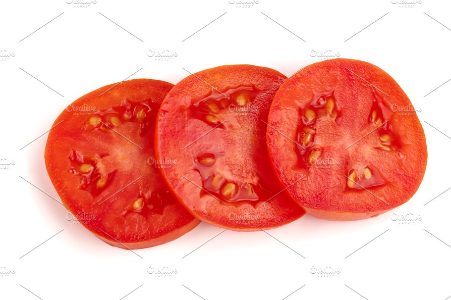 three tomato slice isolated on white background top view food