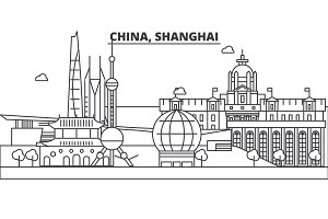 China, Shanghai architecture line skyline illustration. Linear vector cityscape with famous landmarks, city sights, design icons. Landscape wtih editable strokes