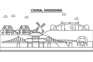 China, Shenzhen architecture line skyline illustration. Linear vector cityscape with famous landmarks, city sights, design icons. Landscape wtih editable strokes