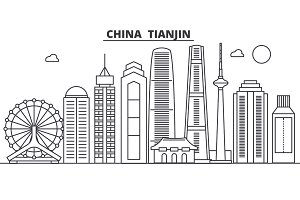 China, Tianjin architecture line skyline illustration. Linear vector cityscape with famous landmarks, city sights, design icons. Landscape wtih editable strokes