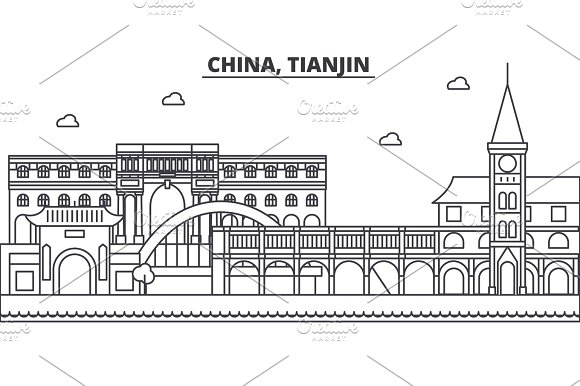 China Tianjin 1 Architecture Line Skyline Illustration Linear Vector Cityscape With Famous Landmarks City Sights Design Icons Landscape Wtih Editable Strokes