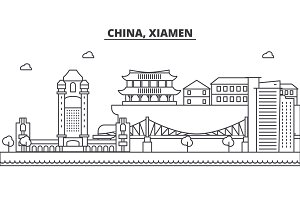 China, Xiamen architecture line skyline illustration. Linear vector cityscape with famous landmarks, city sights, design icons. Landscape wtih editable strokes