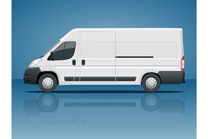 Commercial vehicle or Logistic car. Cargo minivan isolated on blue background Side view Change the color in one click All elements in groups on separate layers