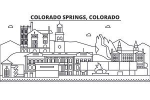 Colorado Springs architecture line skyline illustration. Linear vector cityscape with famous landmarks, city sights, design icons. Landscape wtih editable strokes