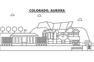 Colorado, Aurora architecture line skyline illustration. Linear vector cityscape with famous landmarks, city sights, design icons. Landscape wtih editable strokes
