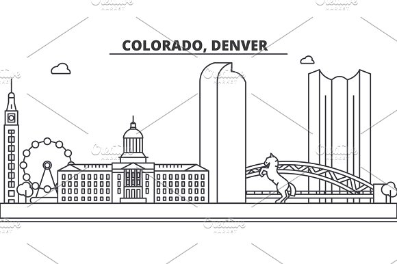 Colorado Denver Architecture Line Skyline Illustration Linear Vector Cityscape With Famous Landmarks City Sights Design Icons Landscape Wtih Editable Strokes