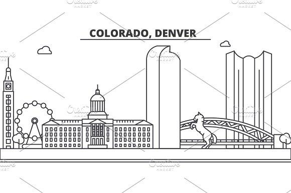 Colorado Denver Architecture Line Skyline Illustration Linear Vector Cityscape With Famous Landmarks City Sights Design Icons Landscape Wtih Editable Strokes