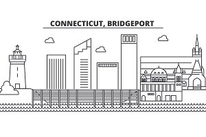 Connecticut, Bridgeport architecture line skyline illustration. Linear vector cityscape with famous landmarks, city sights, design icons. Landscape wtih editable strokes
