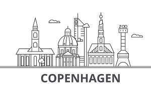 Copenhagen architecture line skyline illustration. Linear vector cityscape with famous landmarks, city sights, design icons. Landscape wtih editable strokes