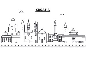 Croatia architecture line skyline illustration. Linear vector cityscape with famous landmarks, city sights, design icons. Landscape wtih editable strokes