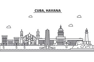 Cuba, Havana architecture line skyline illustration. Linear vector cityscape with famous landmarks, city sights, design icons. Landscape wtih editable strokes