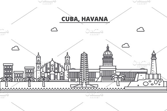 Cuba Havana Architecture Line Skyline Illustration Linear Vector Cityscape With Famous Landmarks City Sights Design Icons Landscape Wtih Editable Strokes