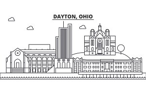 Dayton, Ohio architecture line skyline illustration. Linear vector cityscape with famous landmarks, city sights, design icons. Landscape wtih editable strokes