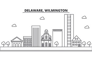 Delaware, Wilmington architecture line skyline illustration. Linear vector cityscape with famous landmarks, city sights, design icons. Landscape wtih editable strokes