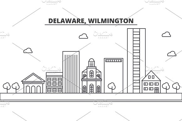 Delaware Wilmington Architecture Line Skyline Illustration Linear Vector Cityscape With Famous Landmarks City Sights Design Icons Landscape Wtih Editable Strokes