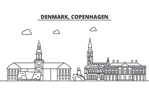 Denmark, Copenhagen architecture line skyline illustration. Linear vector cityscape with famous landmarks, city sights, design icons. Landscape wtih editable strokes