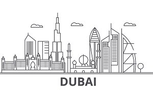 Dubai architecture line skyline illustration. Linear vector cityscape with famous landmarks, city sights, design icons. Landscape wtih editable strokes