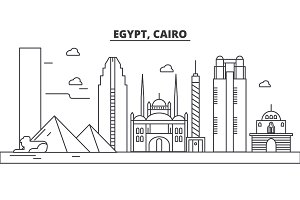Egypt, Cairo architecture line skyline illustration. Linear vector cityscape with famous landmarks, city sights, design icons. Landscape wtih editable strokes
