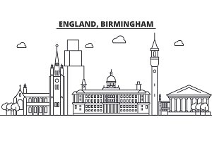 England, Birmingham architecture line skyline illustration. Linear vector cityscape with famous landmarks, city sights, design icons. Landscape wtih editable strokes