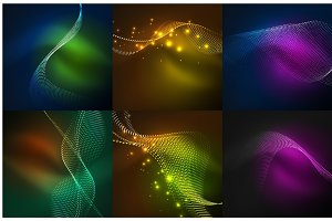 Set of particles smoke wave backgrounds