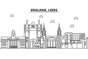 England, Leeds architecture line skyline illustration. Linear vector cityscape with famous landmarks, city sights, design icons. Landscape wtih editable strokes