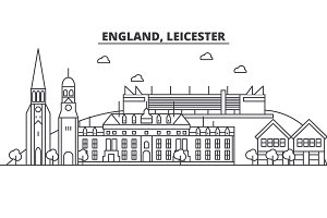 England, Leicester architecture line skyline illustration. Linear vector cityscape with famous landmarks, city sights, design icons. Landscape wtih editable strokes
