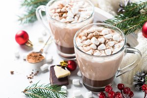 Christmas hot chocolate or cocoa with marshmallow.
