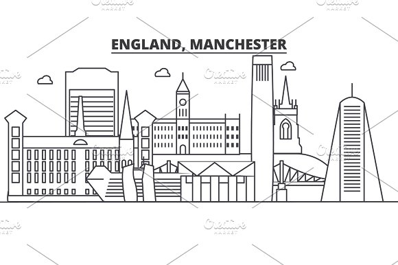 England Manchester Architecture Line Skyline Illustration Linear Vector Cityscape With Famous Landmarks