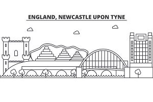 England, Newcastle Upon Tyne architecture line skyline illustration. Linear vector cityscape with famous landmarks, city sights, design icons. Landscape wtih editable strokes