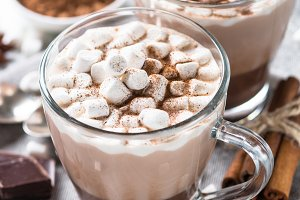 Hot chocolate or cocoa with marshmallow.