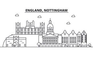 England, Nottingham architecture line skyline illustration. Linear vector cityscape with famous landmarks, city sights, design icons. Landscape wtih editable strokes