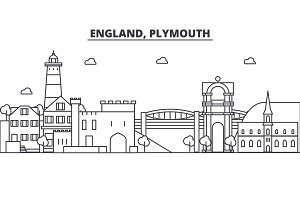 England, Plymouth architecture line skyline illustration. Linear vector cityscape with famous landmarks, city sights, design icons. Landscape wtih editable strokes