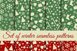 Christmas set of seamless patterns