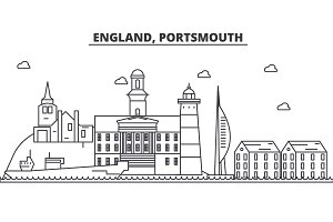 England, Portsmouth architecture line skyline illustration. Linear vector cityscape with famous landmarks, city sights, design icons. Landscape wtih editable strokes