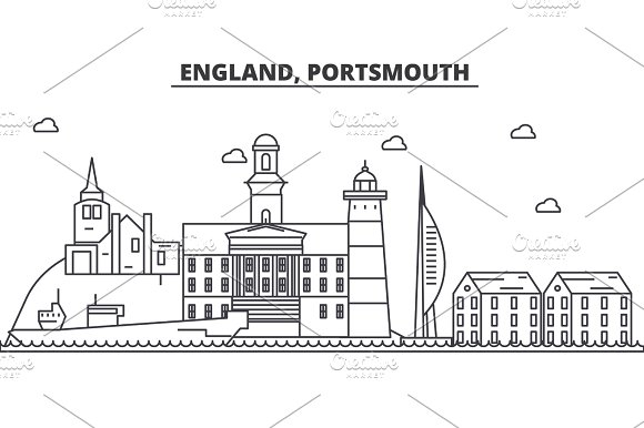 England Portsmouth Architecture Line Skyline Illustration Linear Vector Cityscape With Famous Landmarks City Sights Design Icons Landscape Wtih Editable Strokes