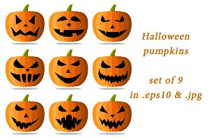 Set of orange halloween pumpkins