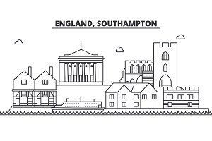 England, Southampton architecture line skyline illustration. Linear vector cityscape with famous landmarks, city sights, design icons. Landscape wtih editable strokes