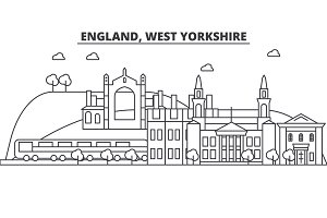 England, West Yorkshire architecture line skyline illustration. Linear vector cityscape with famous landmarks, city sights, design icons. Landscape wtih editable strokes
