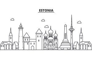 Estonia, Talinn architecture line skyline illustration. Linear vector cityscape with famous landmarks, city sights, design icons. Landscape wtih editable strokes